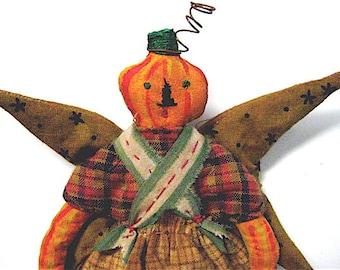 """Pumpkin Primitive Folk Art Pumpkin Head """"PUMPKIN FAIRY"""" Original Homespun, Hand Painted Design"""