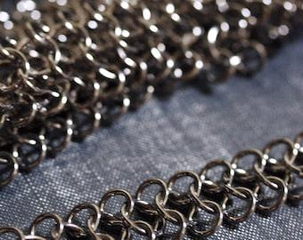 15mm Chunky Infinity Chain - Shiny Gunmetal - Mesh Chain Maille, Wide Chain, Chunky Chain, Gunmetal Chain, Fancy Chain, Figure 8 Chain