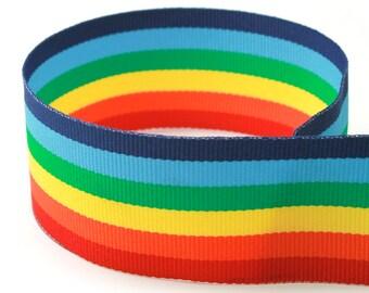 "1.5"" Rainbow Stripe Grosgrain Ribbon"
