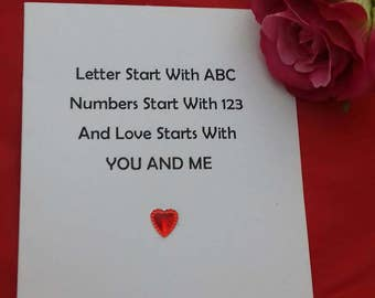 Letters Start With A B C, Love Starts With You And Me Card, Card For Partner, Love Cards, Anniversary Card, Valentines Day Poems, Soppy Card