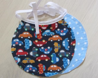 Set of two bibs-assorted cars and Blue Star