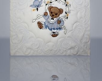 "Baby Teddy Bear Fiber Art, Quilted and Embroidered Canvas Wall Art Handmade 10""x10"" - Mary Brader #511"