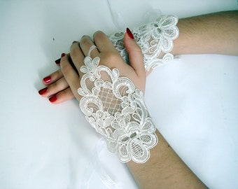 Wedding gloves ivory bridal gloves, Women Lace Glove Bride Fingerless Lace Ivory Gloves, wedding gloves ivory bridal gloves