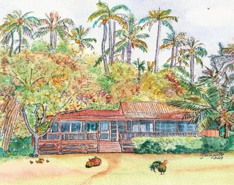 Kauai Autumn in Paradise art print 5x7 from Kauai Hawaii fall pumpkin orange gold
