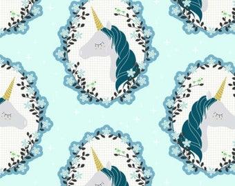 Do You Believe Metallic Aqua from Michael Miller Fabric's Believe Collection by Sandra Clemson