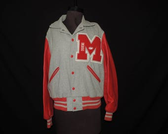 vintage letterman jacket 1960s wool gray and red football manager school varsity letter jacket