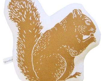 block print squirrel stuffie