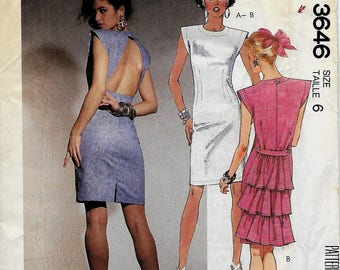 McCall 3646        Misses Fitted Dress      Size 6 or Size 12     Uncut