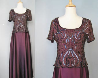 Purple Beaded Gown / Vtg 90s / Stenay Silk Formal / Purple Beaded Mother of the Bride