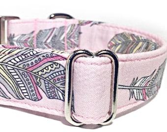Pink Feathered Adjustable Dog Collar