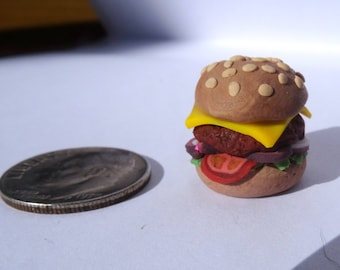 Miniature Polymer Clay Cheeseburger