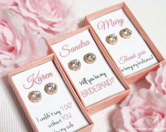 Rose gold bridesmaid earrings, bridesmaid gift set of 3 4 5 6 7 8 9 set of 10 11 12 Round Cubic Zirconia diamond cut stud CZ Wedding earring