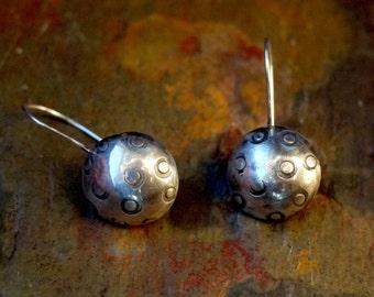 Silver Dome Earrings,  Sterling Silver Earrings, Domed Cup Earrings, Handmade, Metalwork, Stamped Earrings, Dapped Cup Earrings