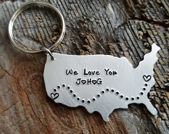 LARGE Personalized USA keychain State Keychain hand stamped jewelry long distance relationship gift LDR Gift Girlfriend Gift Family Keychain