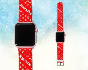 louis vuitton apple watch strap Supreme apple watch band apple watch Red LV iwatch band Supreme logo leather apple watch 42mm iwatch 38mm