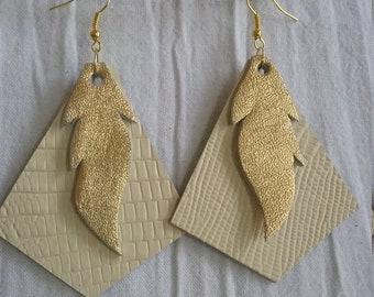 Leather Earrings Pierced or Clip on Hand cut