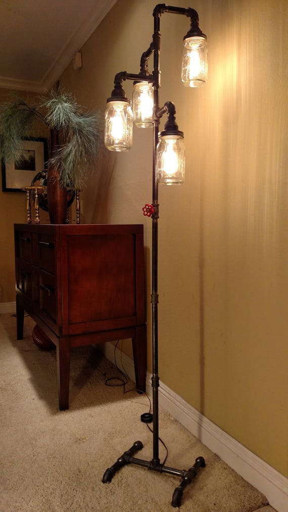Pipe Floor Lamp 4 Fixture Includes Dimmer Switch Includes 4