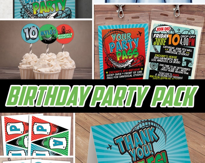 Party pack, party decorations, Amusement Park party, Party sign / super hero birthday, rollercoaster, table sign, cupcake topper, banner