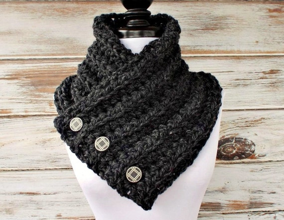 Crochet Cowl - Wellington Cowl in Charcoal Grey Cowl Grey Scarf - Womens Accessories