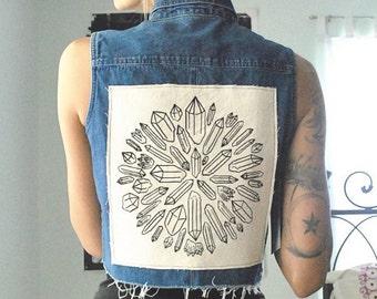 Crystal Mandala patch black on white
