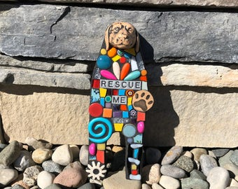 Rescue Me. (Original Handmade Mixed Media Mosaic Scrap Assemblage Art Doll Wall Hanging by Shawn DuBois)