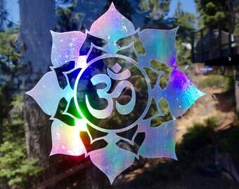 Om Flower Vinyl Decal   Laptop or Wall   Mandala Sacred Geometry   Geometric Yoga   Rainbow Holographic Sticker