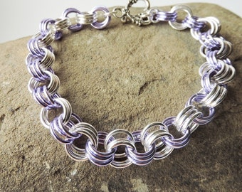 3 In 3 Handmade Chainmaille Bracelet, Purple and Silver Chainmaille Bracelet