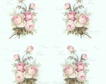 4 Decoupage Paper Napkins Vintage Roses of Amour Rose