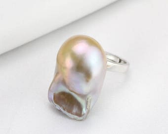 14mm Large baroque pearl ring,natural metallic color freshwater pearl ring,big size pearl ring,silver open ring,unique ring,unique gift