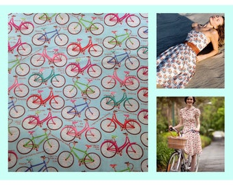 New 100% Cotton Fabric With Funky Bike Print