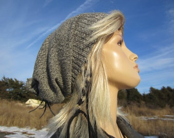 Winter Hats Slouch Beanie Gray White Cotton Slouchy Oversized Tam Womens A1222