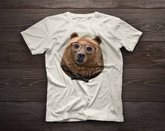 Brown Bear t-shirt, grizzly bear tee, pet tshirt, silvertip bear tee, grizzly bear, gift, glasses, bow tie