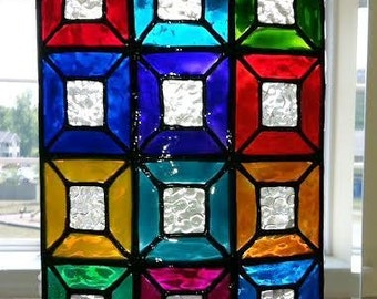 Faux Stained Glass, Window Panel, Hand Painted, Colorful, Suncatcher, Privacy Glass