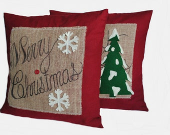 Two 'Merry Christmas' tree Pillow covers, 20x20, holiday pillow, decorative pillow, cushion, Christmas decoration
