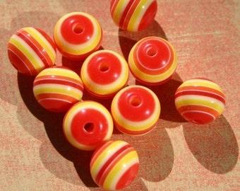 """10 dix Melon d'été rayé 12mm stratifié résine acrylique perles Orange rouge jaune blanc pressé Stripes gros gros """"BOLD"""" coucher de soleil Sunrise Set chaud"""