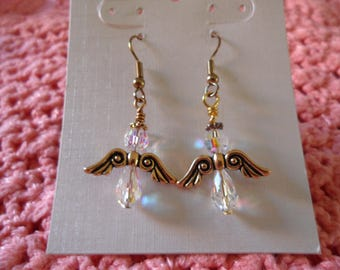 Sparkling Clear Crystals Gold Tone Angel Dangle Earrings