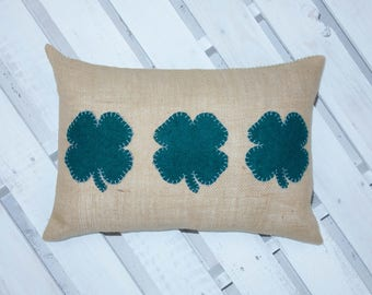 Shamrock Pillow - Farmhouse Pillow - Burlap pillow cover - Organic cotton - Green and White - Ticking Stripe - Lumbar Pillow