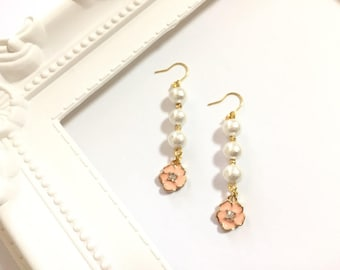 Cherry blossom, cotton pearl, cherry tree, pink, white, Japan spring, long, earrings, gold, charm, beads, Japanese,