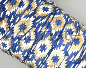 Fold Over Elastic, FOE, Foldover Elastic, Elastic By The Yard, 5/8 Elastic, Printed Elastic, Wholesale Elastic, fleuriste, Navy Navajo