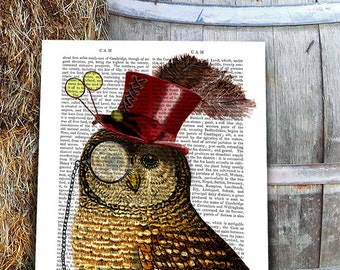 Steampunk Art Print, Steampunk Owl Art Book Page Wall Art Wall Decor Poster Owl in Top Hat