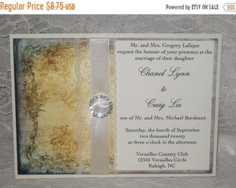 Wedding Sale Lace Wedding Invitations Clara Collection French Market Elegant, Shabby Chic, Vintage Inspired, Haute Couture Invitations