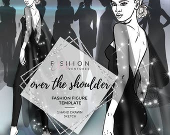 Over The Shoulder | Fashion Template, Fashion Illustration, Croquis, Fashion drawing