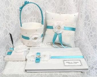 Wedding set, custom wedding reception set, flower girl basket, ring bearer pillow, wedding  guest book, custom colours, reception set
