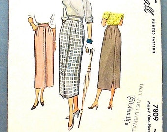 SALE 20% OFF Vintage McCall 1940s sewing pattern 7809 for one piece narrow skirt.  Waist 24 inches.