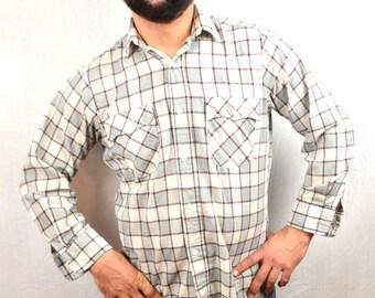 Vintage 80s Basic Levis Western Plaid Long Sleeve Button Up Shirt
