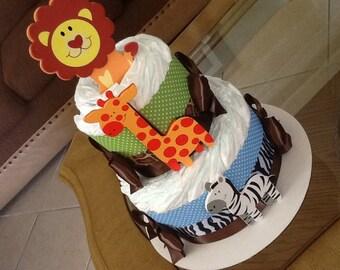 Baby boy diaper cake/ Safari diaper cake Safari baby shower gift/ Centerpiece
