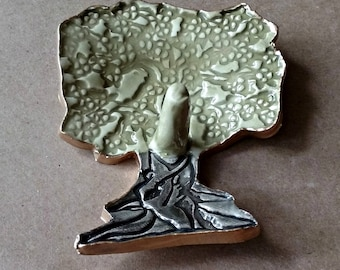 Ceramic Tree Ring Holder  edged in gold ring holders