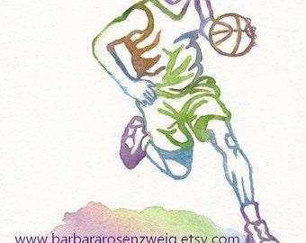 Basketball Painting, Basketball Print, Sports Wall Art, Athlete Art Print, Man Boy Room Decor Basketball Player Watercolor Art, Sports Gift