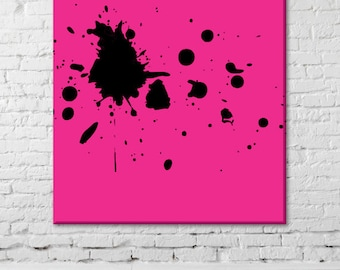 Modern picture Print Canvas Wall Art black spots 100 x 100 cm