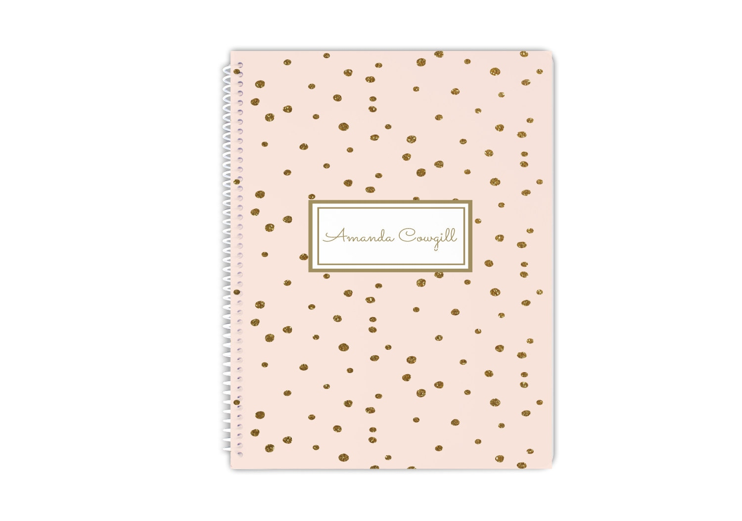 Personalized Blush And Gold Confetti Notebook Name Or